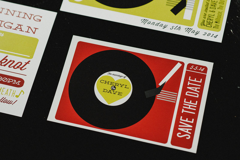 retro vinyl wedding stationery