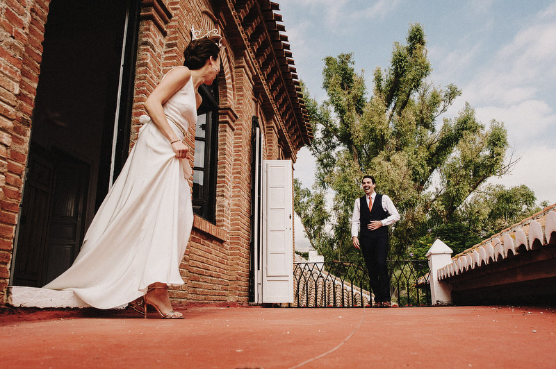 first look wedding on a rooftop spain