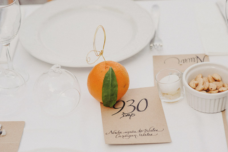 oranges citrus wedding tables