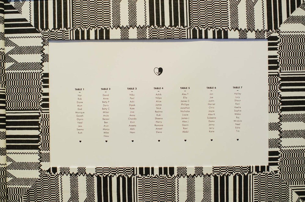 black and white pattern wedding stationery