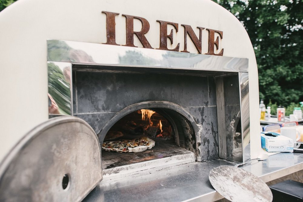 outdoor pizza oven wedding