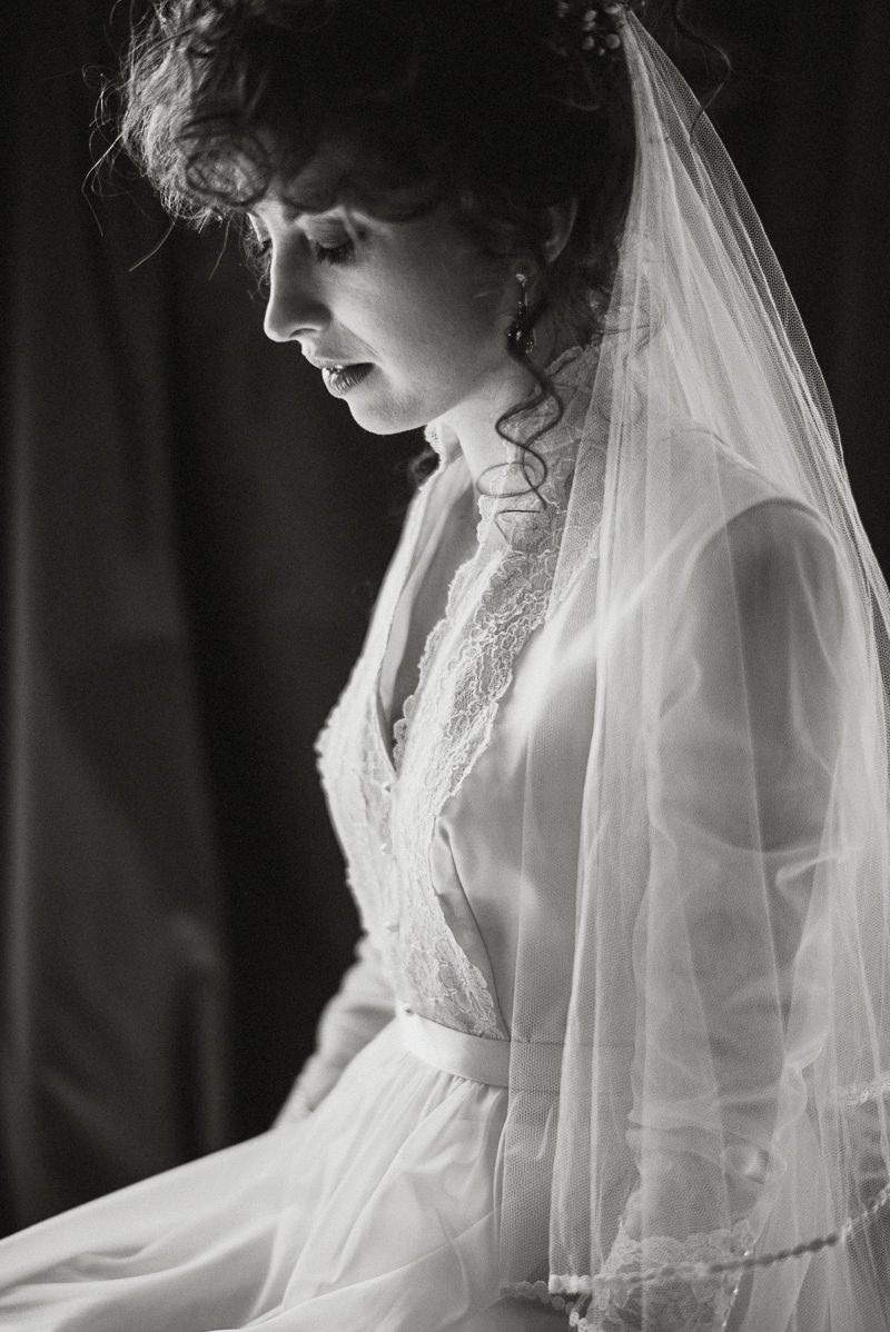 bride in vintage dress