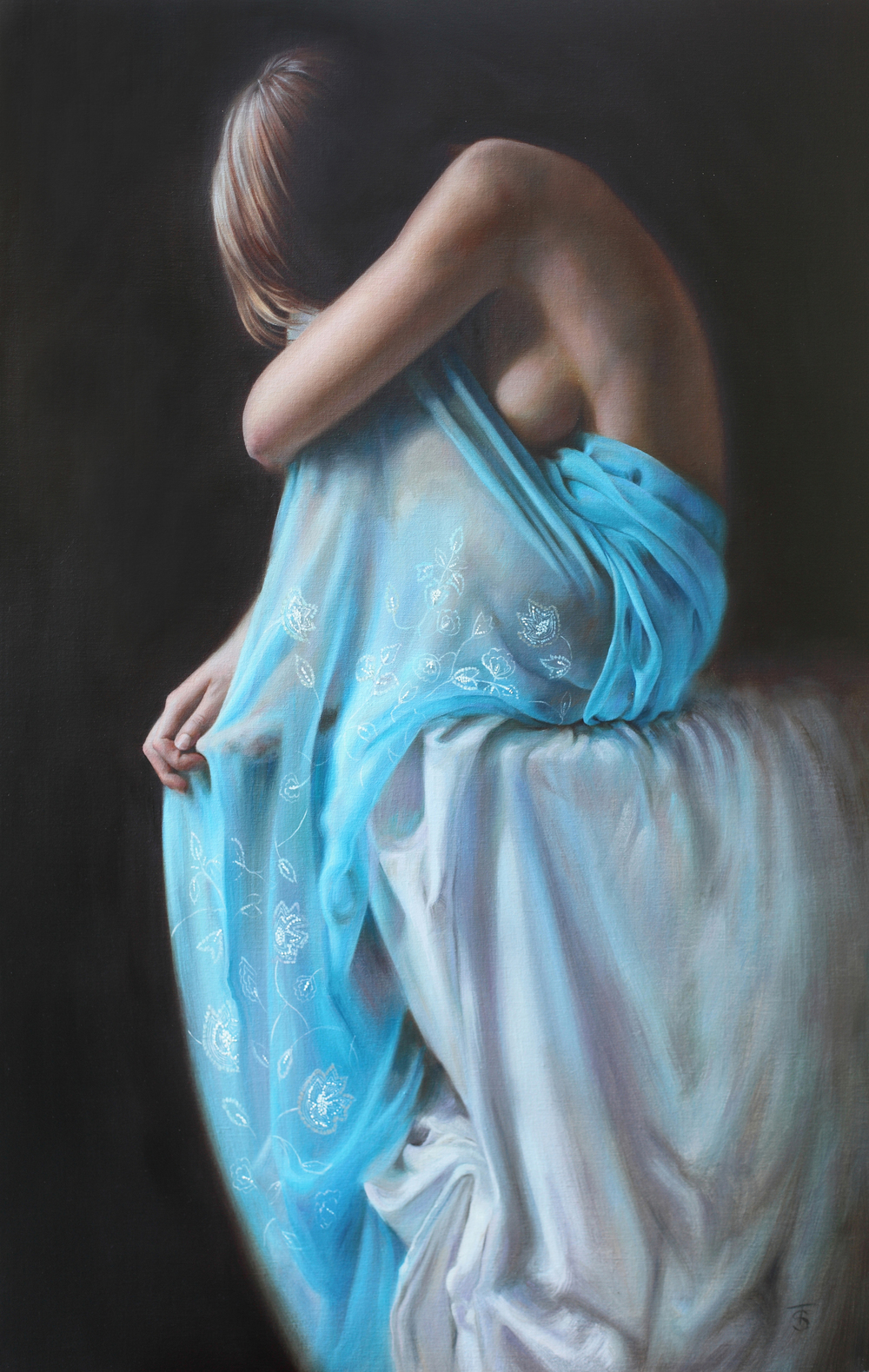 "Blue Veil III, 28"" x 18"", oil on linen, available"
