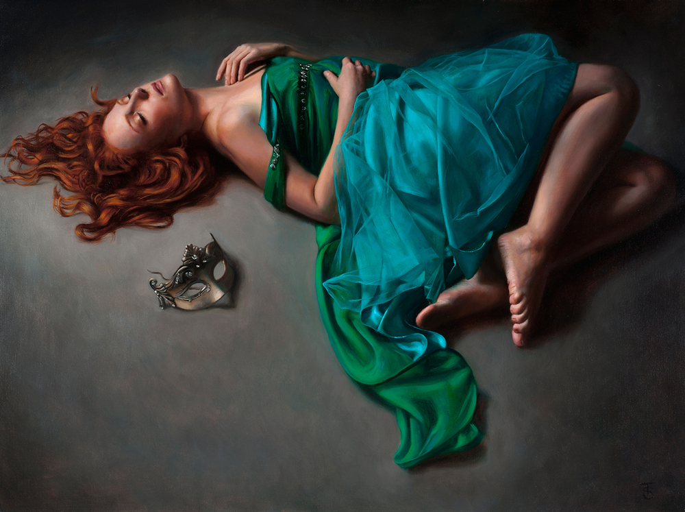 "Unmasked, Oil on linen, 18"" x 24"", available from  Haynes Galleries"