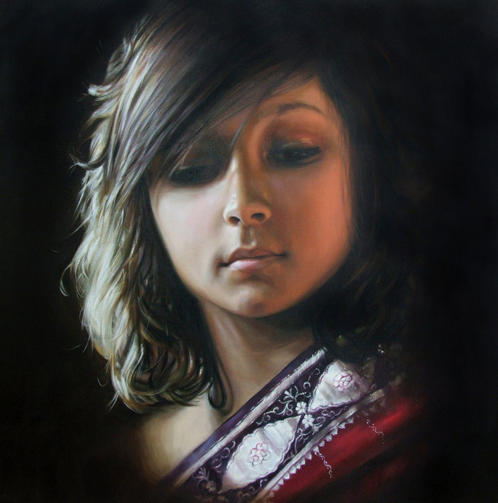 "Red Sari  Oil on canvas, 40"" x 40"", private collection."