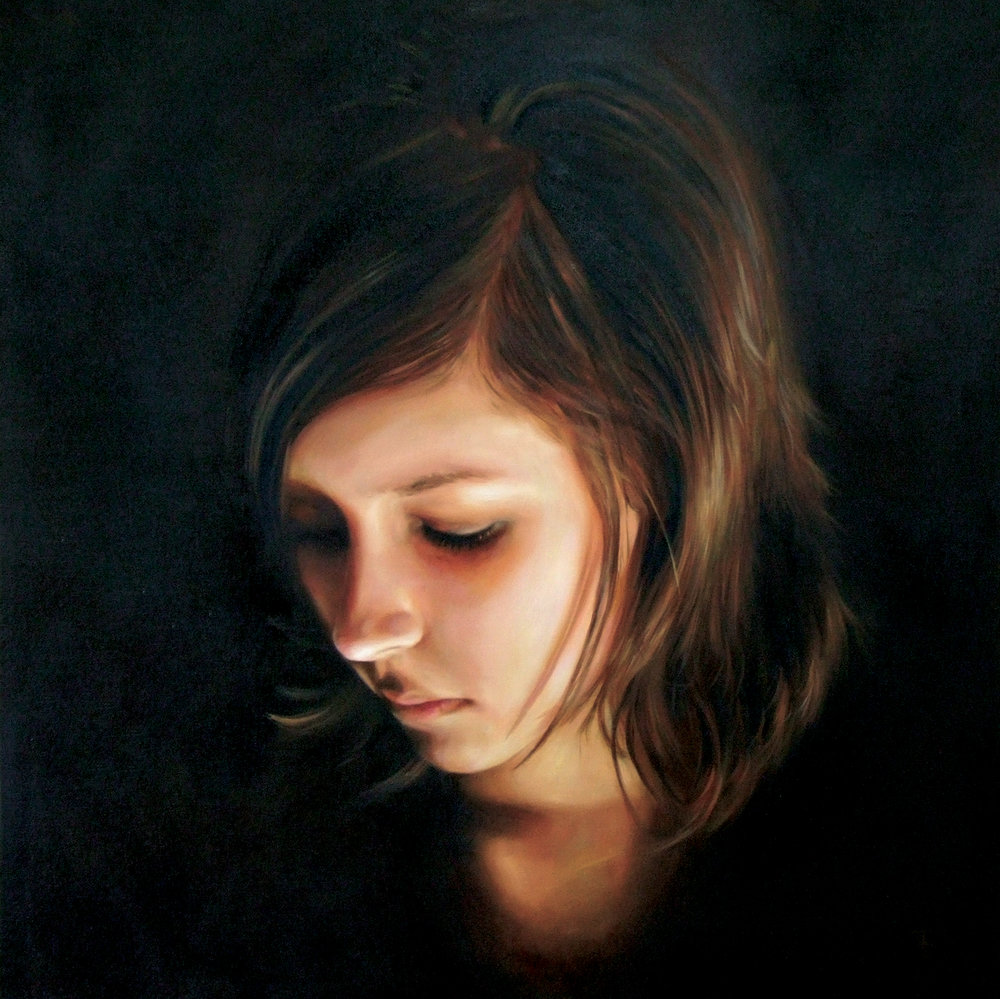 "Chloe  Oil on Linen, 40"" x 40"", Private Collection"
