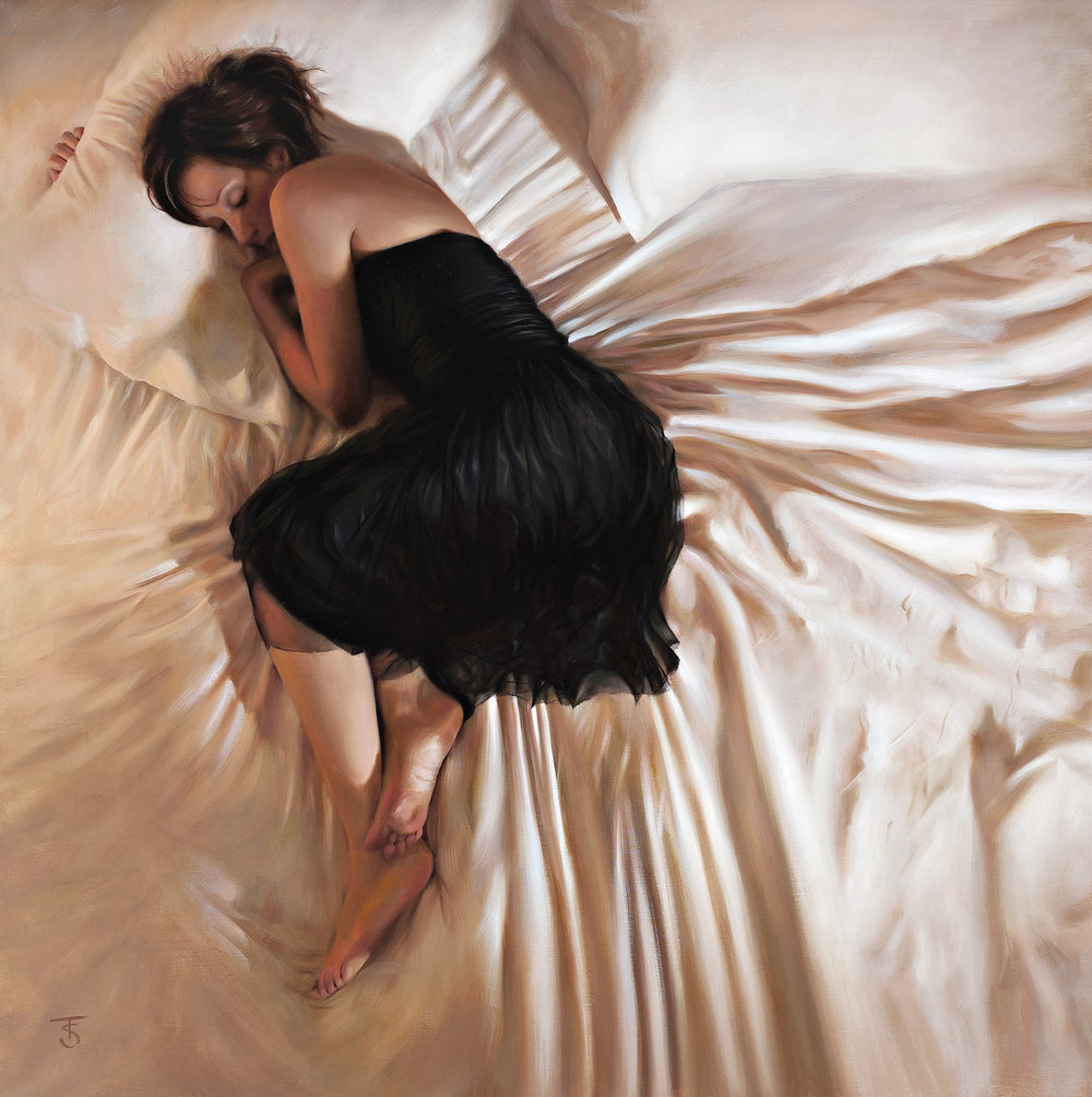 "Black Dress IV Oil on linen, 26"" x 26"" / SOLD"