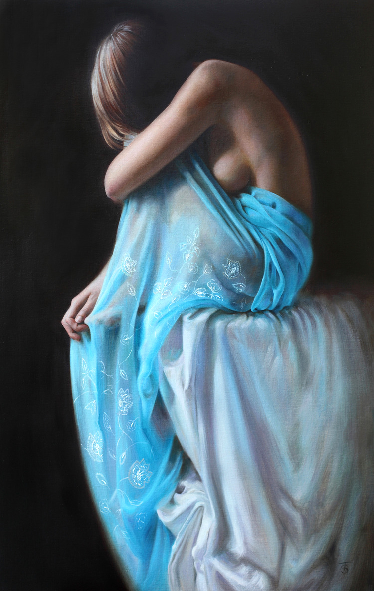 "Blue Veil III 28 x 18"", oil on linen, Sold"