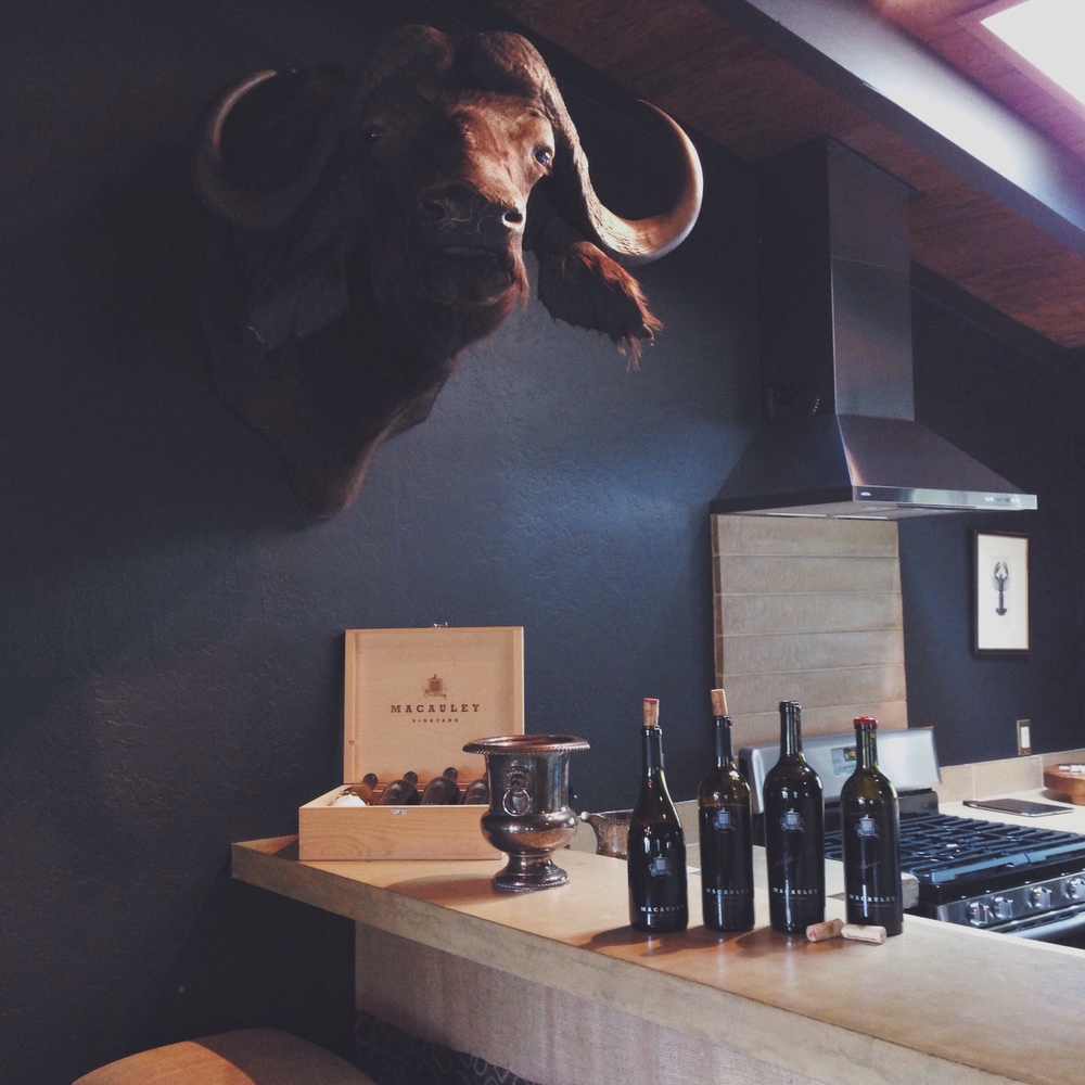Macaulay Wines' tasting room, a perfect man den cabin in the forest