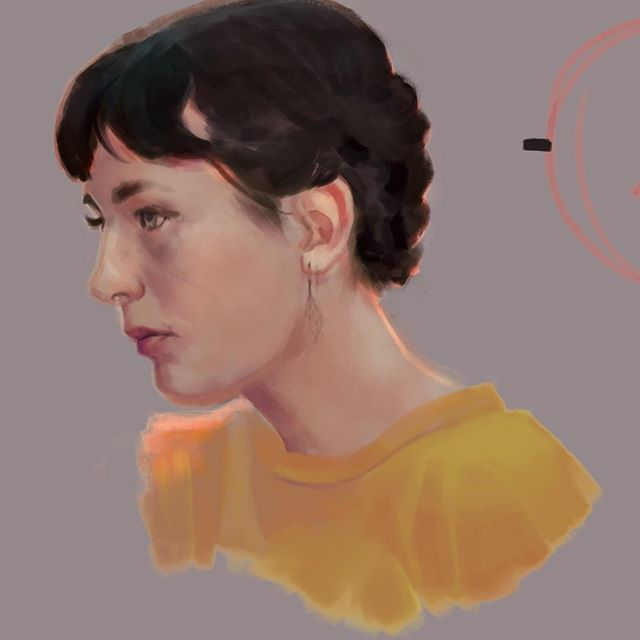 I love the ways subdued colours can interact with one another. #portrait #painting #study