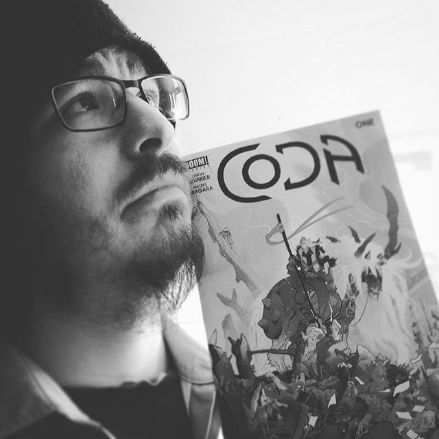 I spent the last ten minutes convincing @doiglebear to take increasingly pretentious photos with CODA, available today in all good comic stores!