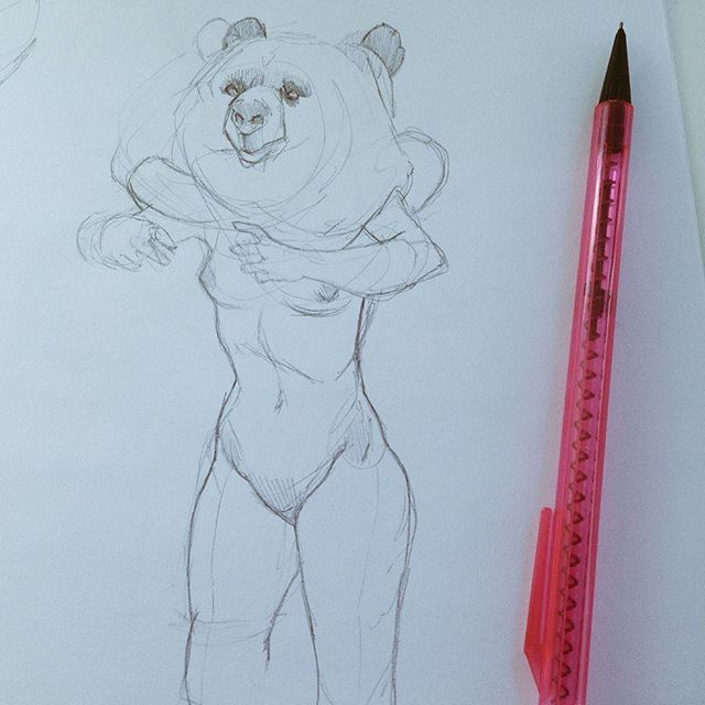 Fitting in some #bearnakedladies doodles between freelance tasks
