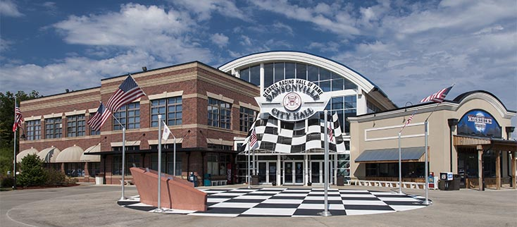 Racing themed City Hall in Dawsonville