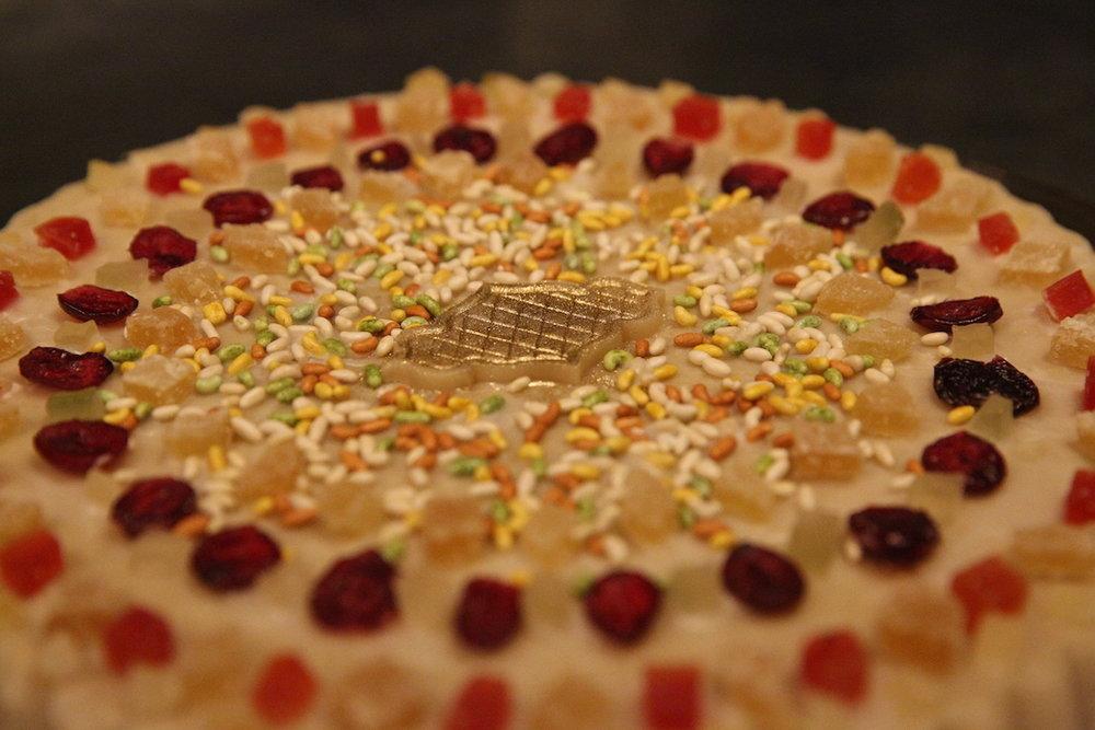 Fancy cake with sprinkles.JPG