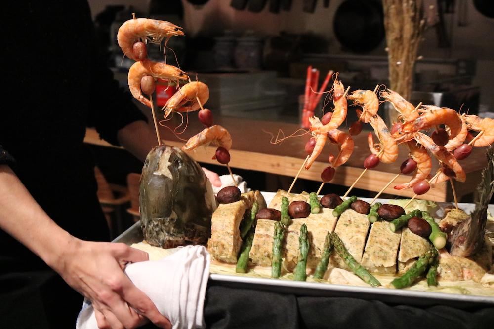 Artistically designed fish presentation for gourmet Edible History dinner.JPG