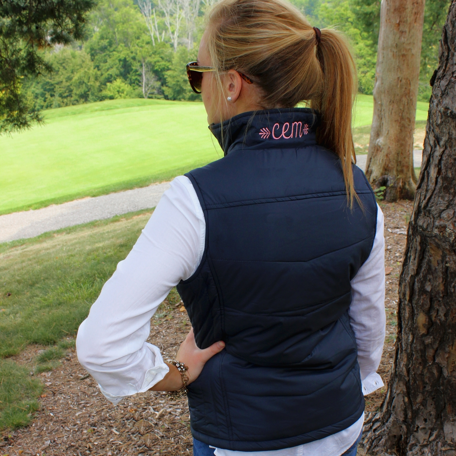 596bc9025af3 Quilted Preppy Vest Jacket with Monogram Collar — SimplyEmbroidered ...