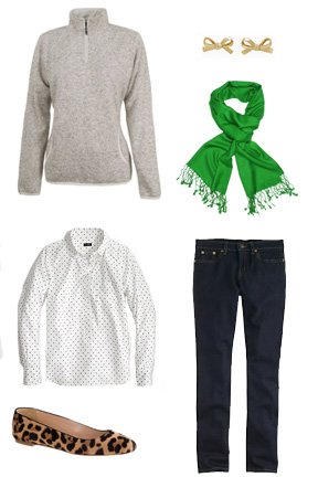 Oatmeal Knit Zip: Simply Embroidered Bow Earrings: Kate Spade , Polka Dot Button Down: J.Crew Factory Flats and Denim: J.Crew, Green Pashmina Scarf: Google Search