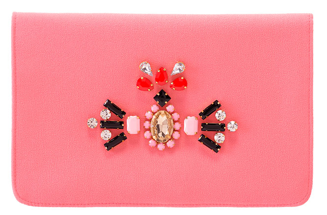 Coral Jeweled Clutch