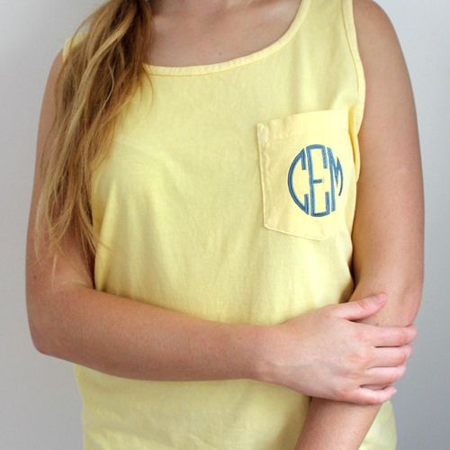 Comfort Colors Monogram Pocket Tank