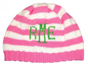 Stiped Monogrammed Baby | Children's Beanie