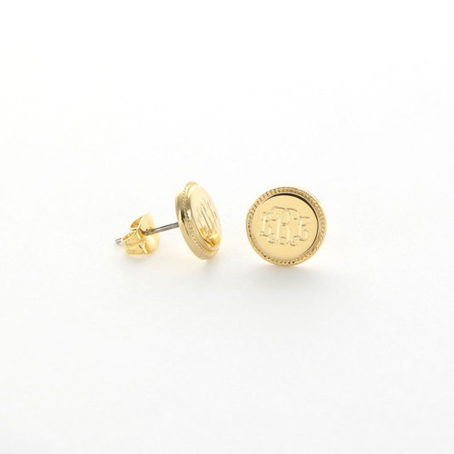 These gold plated monogrammed  earrings  are perfect for every day wear!
