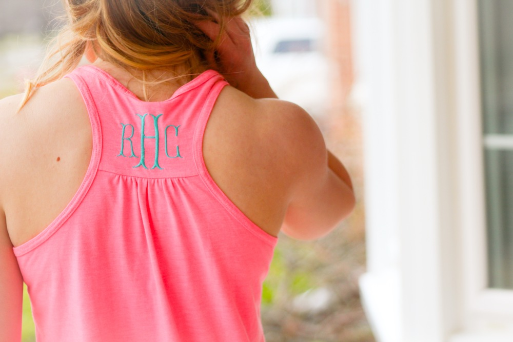 Monogrammed  tanks  for Spring Break? An absolute must. This racerback tank is perfect for working out, doing some beach yoga, and great for wearing casually with your favorite pair of shorts. With a ton of color options, there is something for everyone!