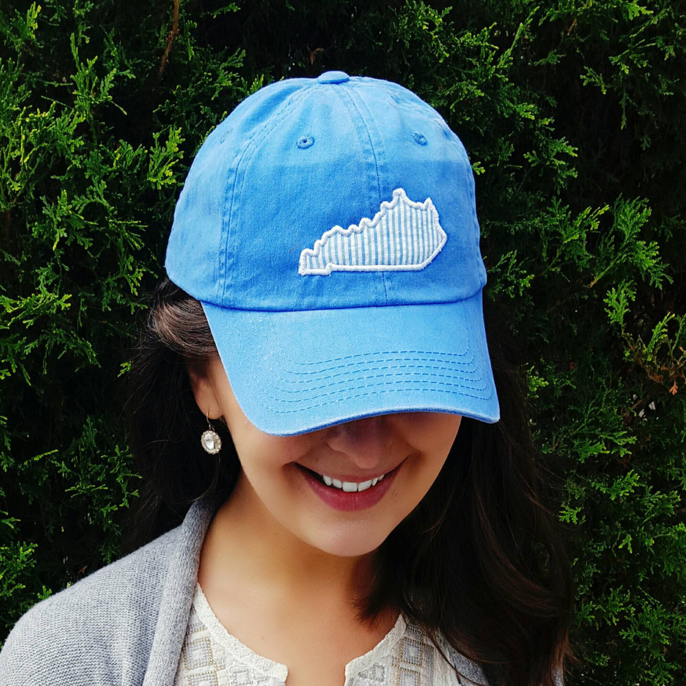Our  State Love seersucker cap  is perfect for the pool or beach while still showing your hometown pride!