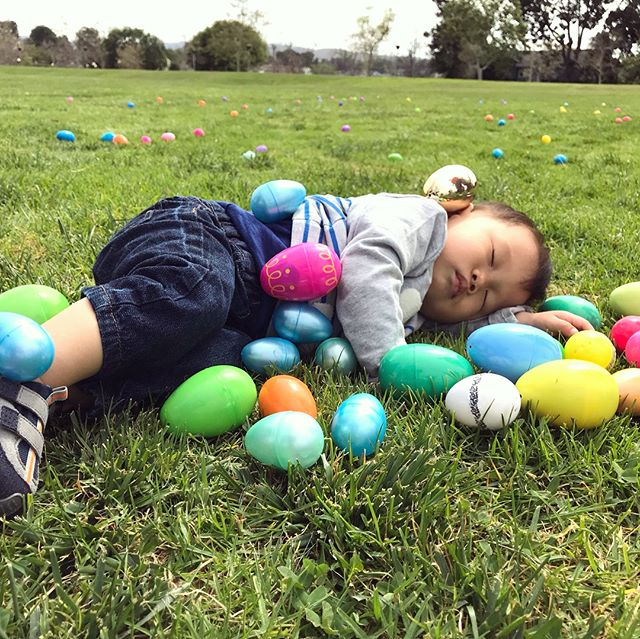 Happy Easter! #elliotspak resting in the finished work of Jesus 😆