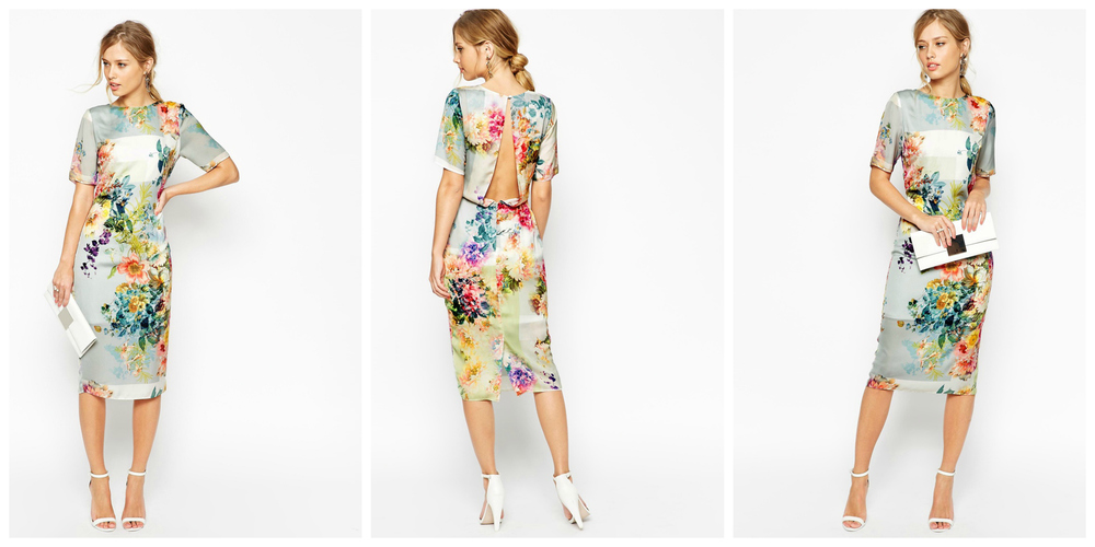 ASOS SALON Floral Open Back Midi T-Shirt Dress $126.00