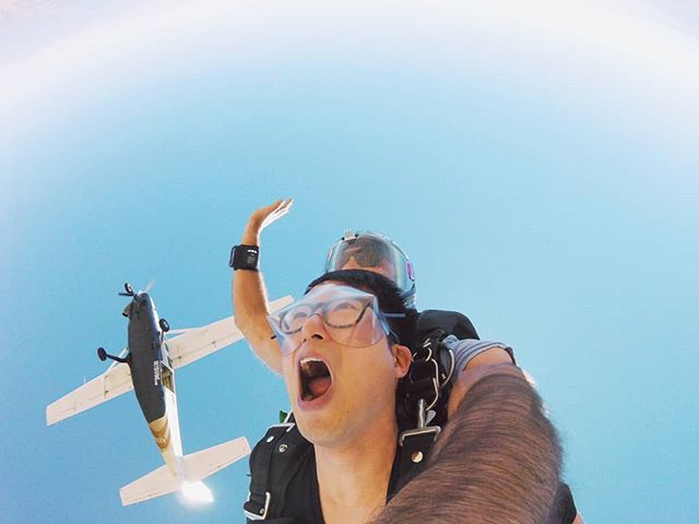 So yea... This happened today. Willingly jumped off a plane, with a dude strapped to my back and totally overpaid for these photos. But totally worth it! #BucketList #Skydiving #18000ft #WeSurvived #EpicAdventures #WeCrazy