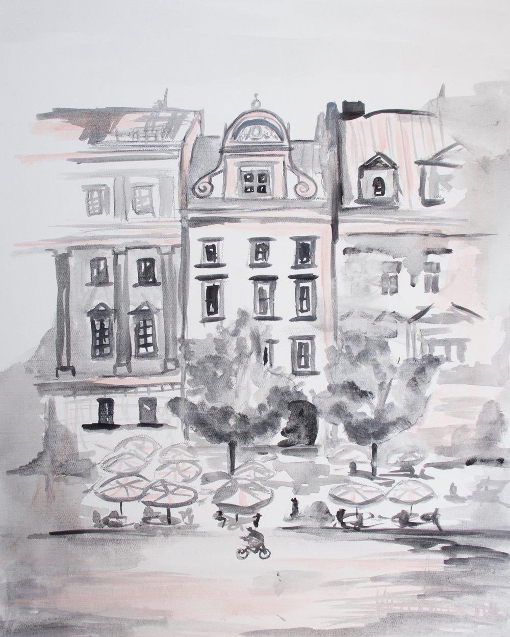 Pink Paris Cafes, art prints