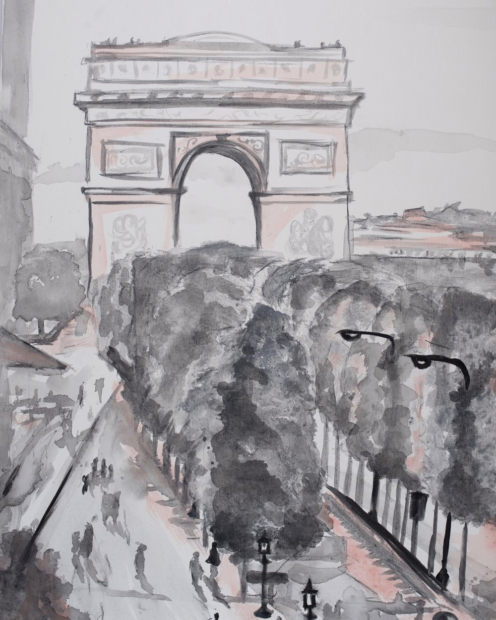 Pink Paris Arche de Triomphe, art prints