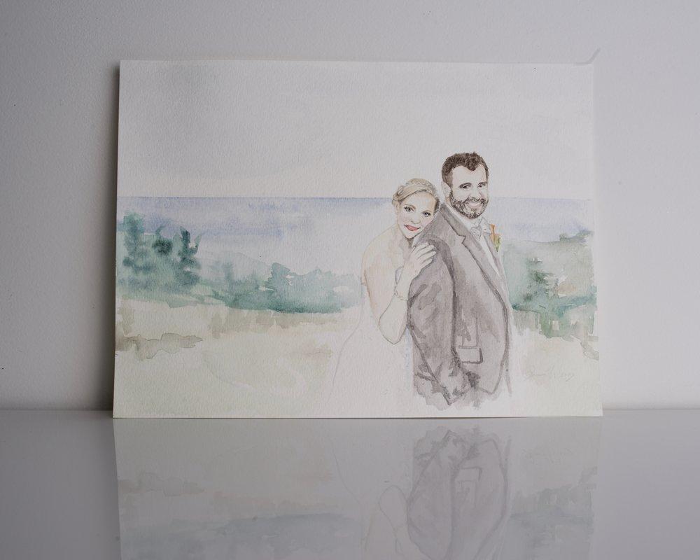 Wedding Portrait, custom watercolor painting