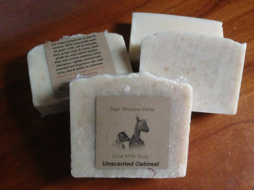 Sage Meadow Farms based in Easthampton, Massachusetts. Sage Meadow soaps are hand made, with all natural skin-nourishing oils which are blended with goat milk from their own goats on the farm.  -