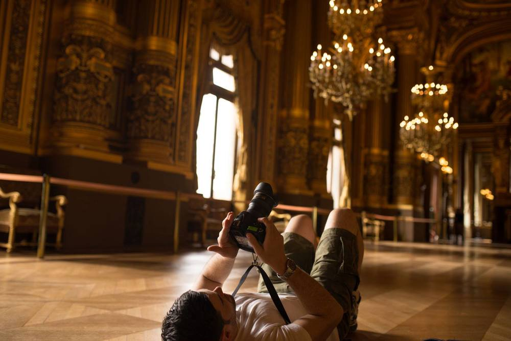 Dan at the Opera Garnier, getting the best angle, no matter what.