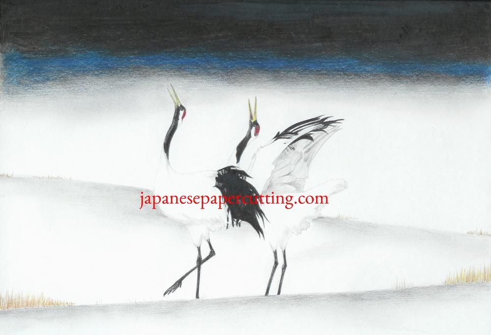 White Cranes | Pencil & Pencil Crayon | 2004