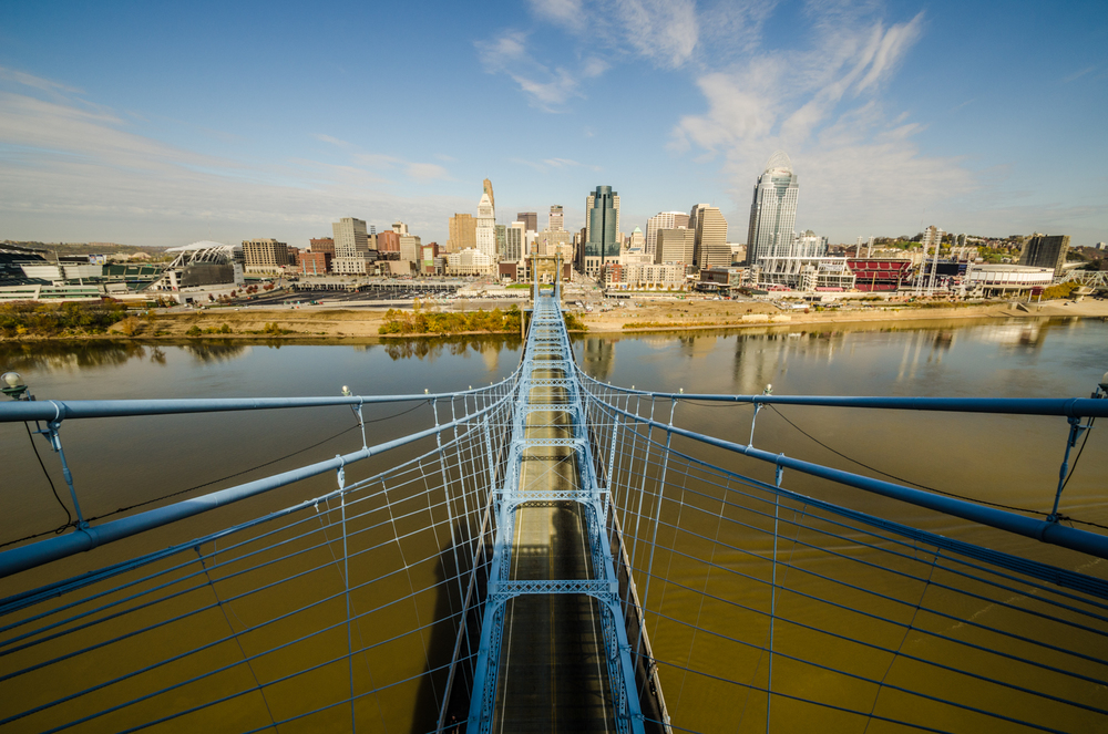 View from on top of the John A. Roebling Suspension Bridge