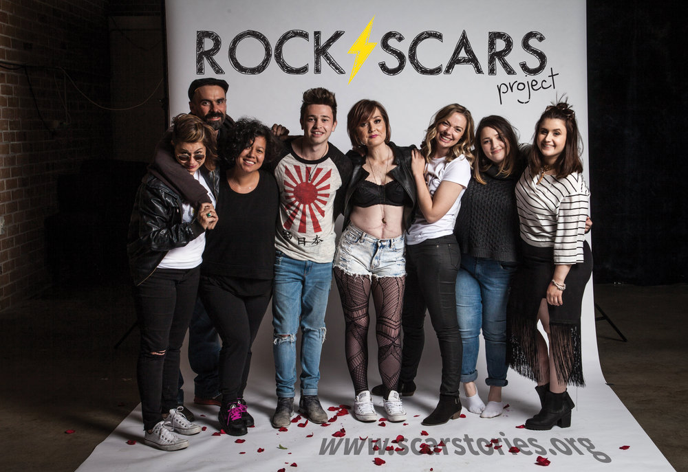 Reece Mastin poses with Cancer survivor for Rock Scars project