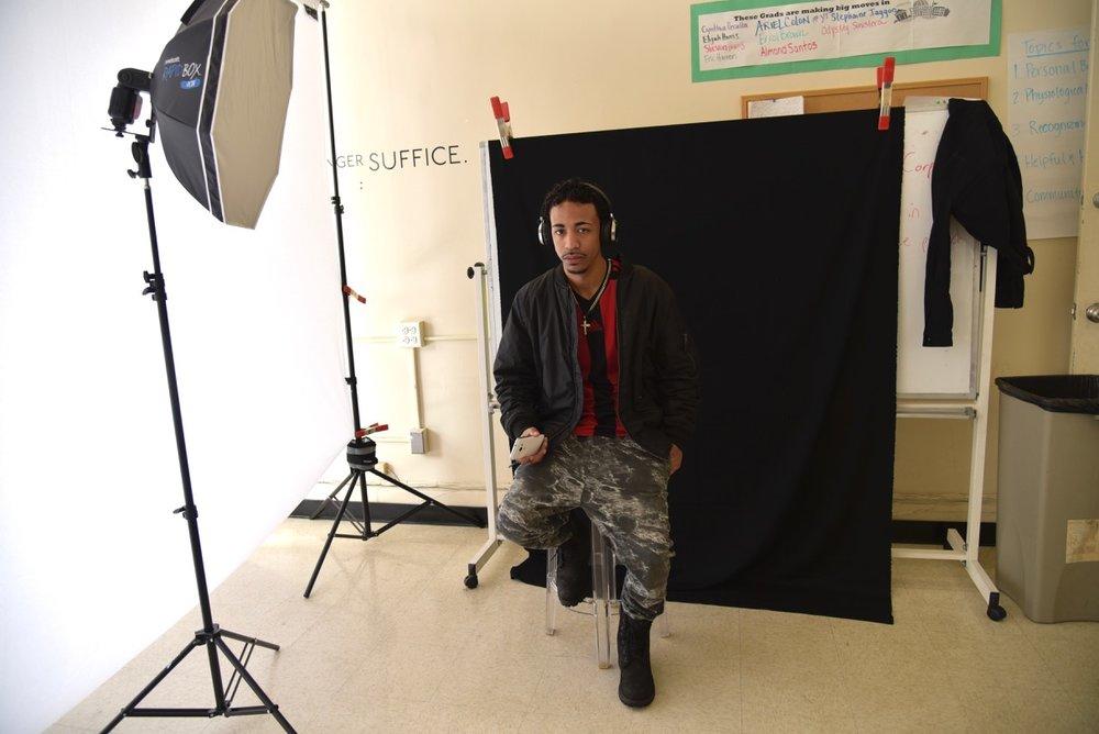 Pop up studio, black background