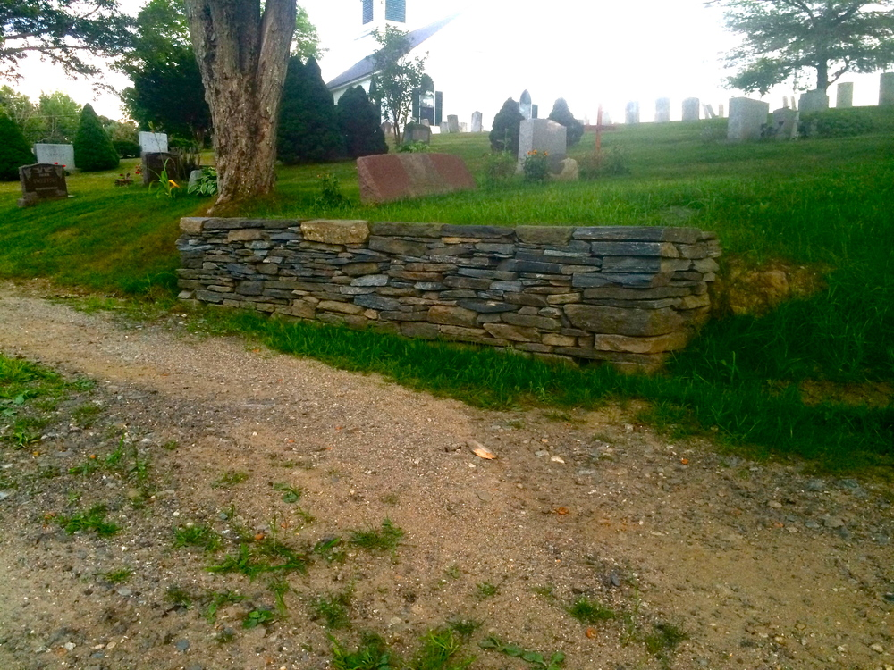 Dry Lay Stone Wall done in Riverside Cemetery with Cape Landscapes LLC          Cape Elizabeth, Me. 2015