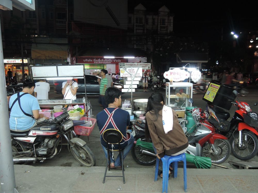 sidewalk food stalls