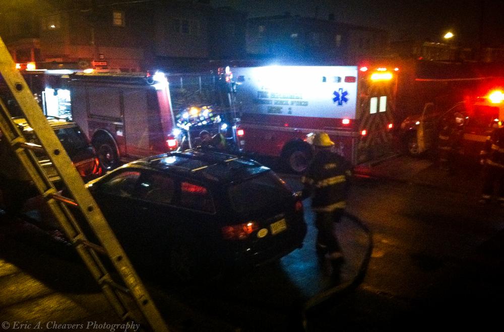 Exterior of off-campus dorm where members of the Philadephia Fire Department & Paramendics are on scene.