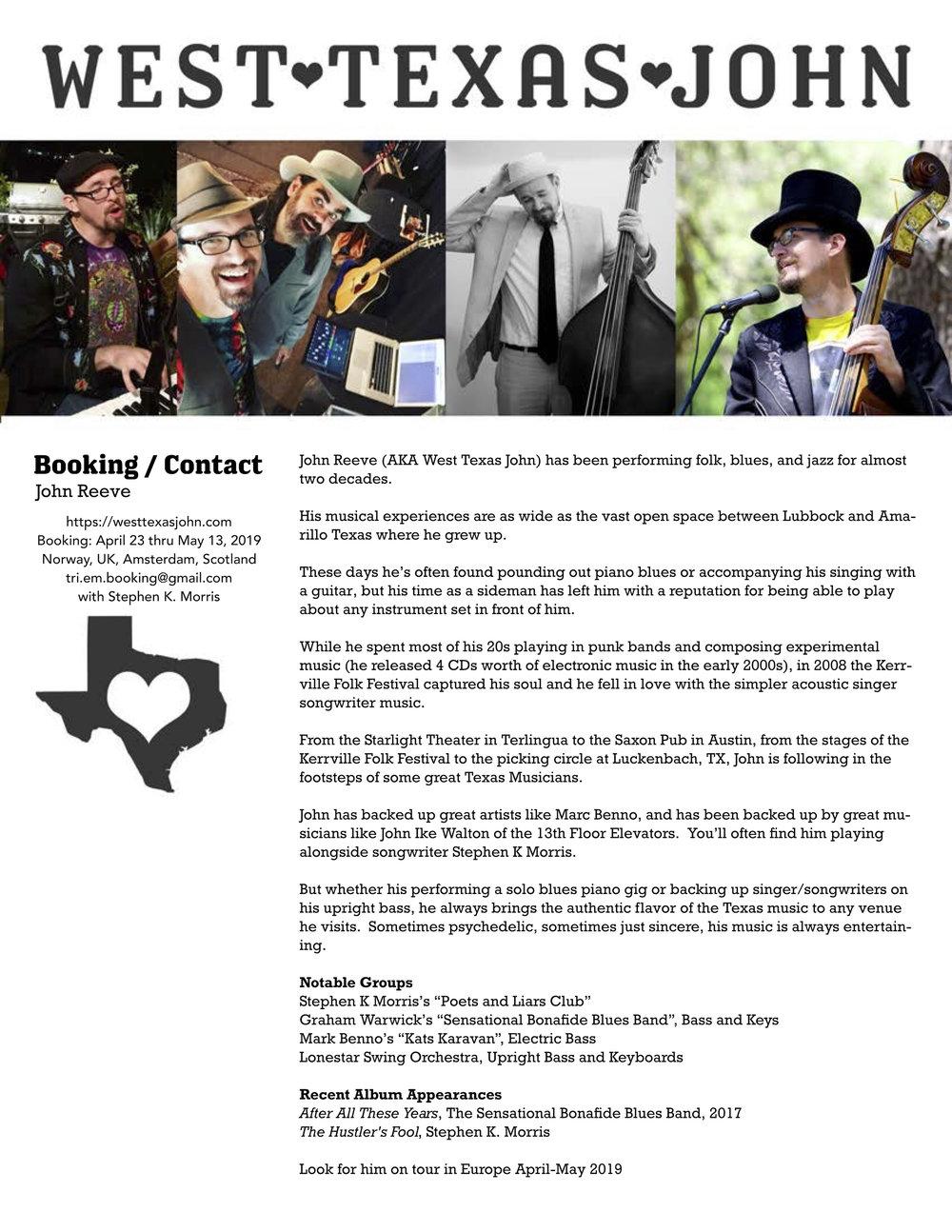 West Texas John Onesheet