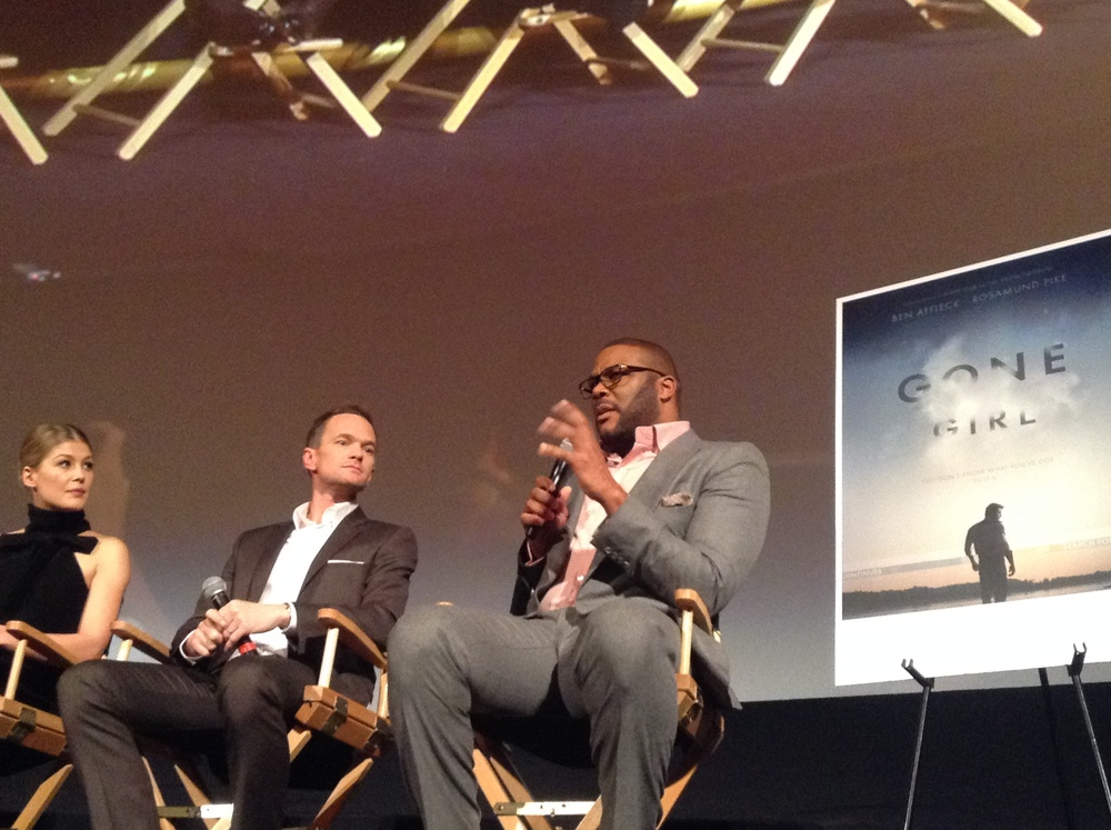 """Rosamund Pike, Neil Patrick Harris, Tyler Perry at NYFF screening of""""Gone Girl Gone.""""(L-R)"""