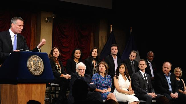 "Mayor Bill de Blasio and the honorees at the 2014 ""Made in NY"" Awards"