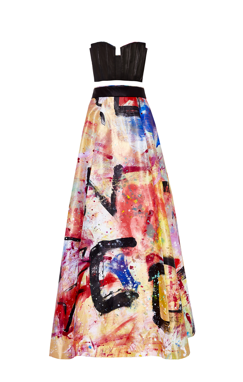 DOMINGO ZAPATA - alice + olivia Strapless Bustier and Ball Skirt Hand-Painted By Domingo Zapata