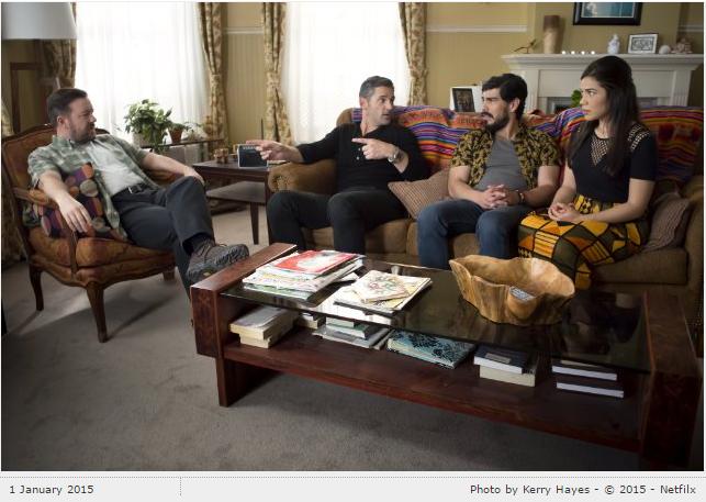 Still of Eric Bana, Ricky Gervais, America Ferrera and Raúl Castillo in Special Correspondents (2016)