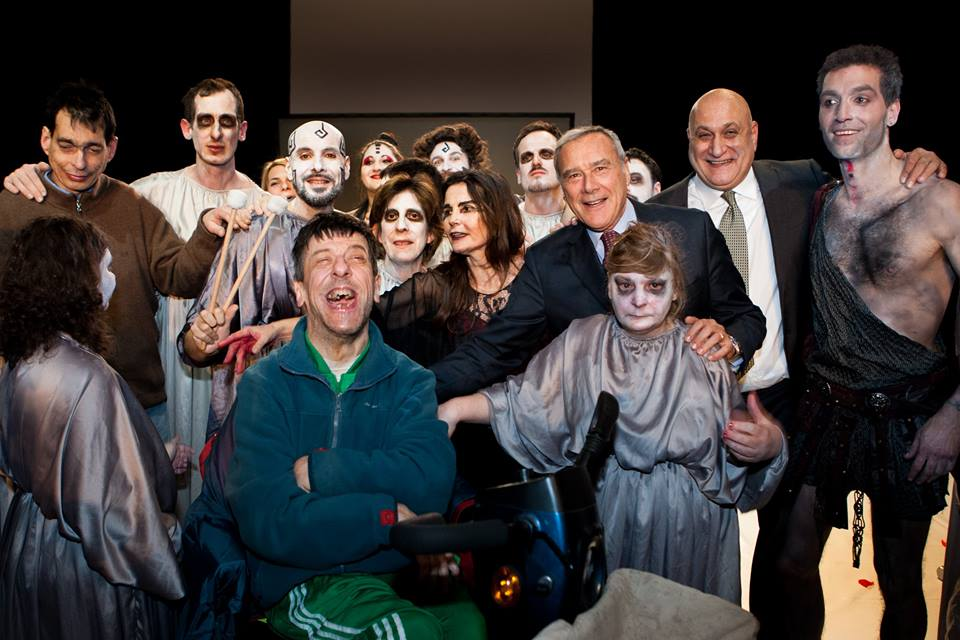 Teatro Patologico acting company with Pietro Grasso, President of the Senate of Italy.  Photo courtesy of Teatro Patologico.
