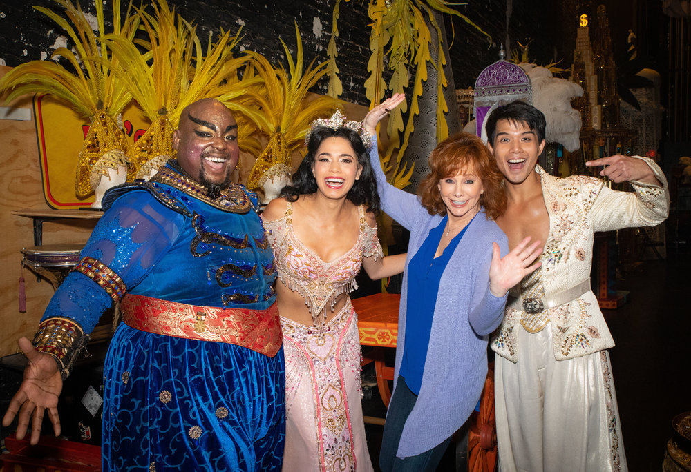 Major Attaway, Arielle Jacobs, Reba McEntire and Telly Leung Backstage at Broadway's Aladdin - Photo by Shay Frey Courtesy Disney Theatrical Productions