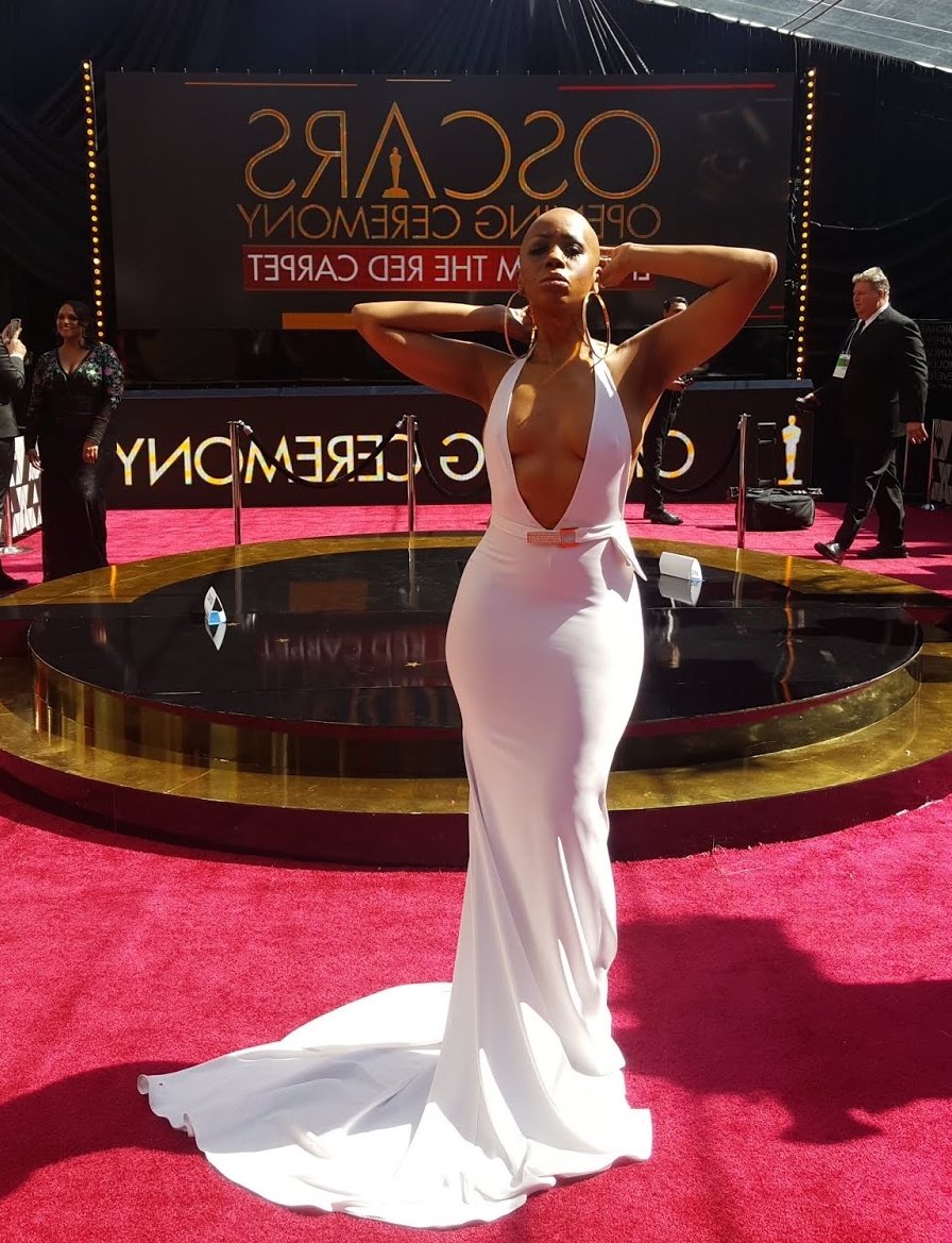 Reporter Tanisha LaVerneGrant, Oscars 90'th. Photo Credit Lapacazo Sandoval.jpg